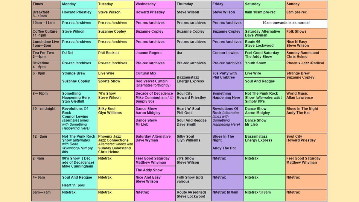 Temporary revised Phoenix Radio schedule